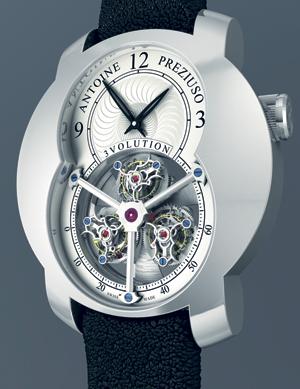 Antoine Prezuiso 3 Volution Механические часы с ручным заводом в платиновом корпусе с тремя парящими минутными турбийонами.