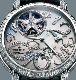 Zenith El Primero Хронограф в корпусе из белого золота, инкрустированном 117 багетными бриллиантами (8,79 карата) с минутным турбийоном. Каретка турбийона украшена бриллиантовой звездой.