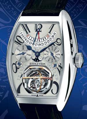Franck Muller Evolution 3-1 Часы в платиновом корпусе с турбийоном, вращающимся в трех плоскостях. Индикатор запаса хода, ретроградный указатель даты, вечный календарь, индикатор фаз луны.